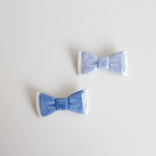 Denim ribbon brooch