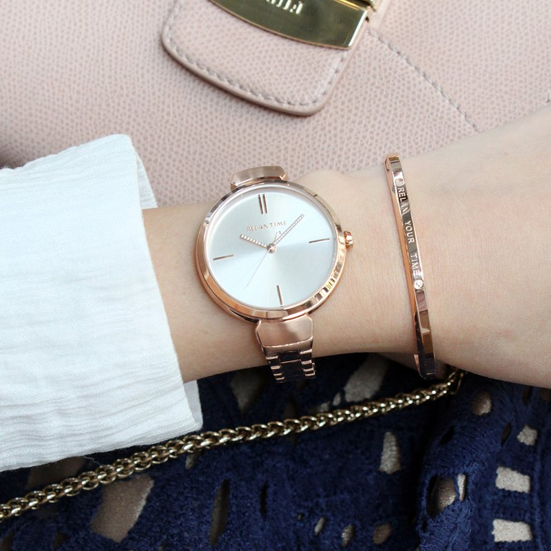RELAX TIME Shine Series Shine Series (RT-68-3) Rose Gold x White Gift Bracelet
