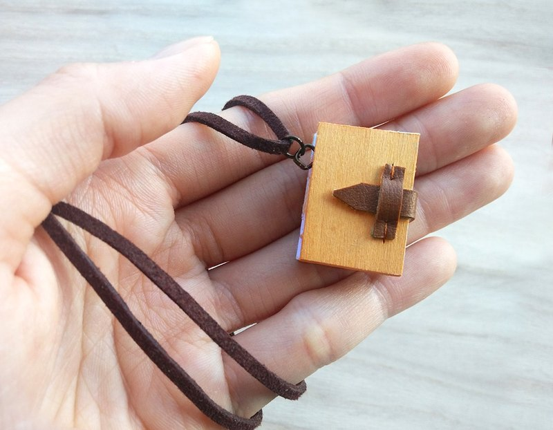 Mini Book Necklace (wood), with adjustable faux suede cord