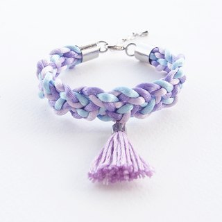Lilac & light blue braided bracelet with lilac tassel