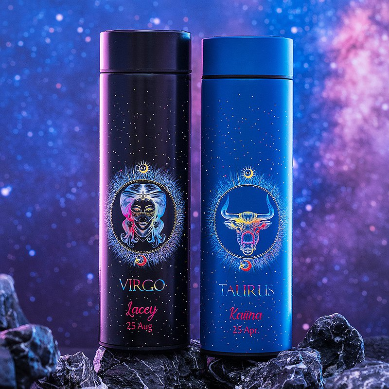 (Twelve Constellation Pair Cup Gift Box) Customized kettle lover gift smart temperature thermos cup tea coffee