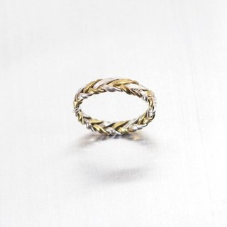 Vintage woven silver and brass ring