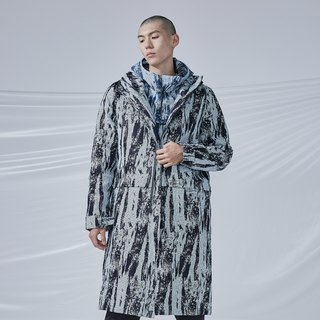 DYCTEAM - Brush Pattern Jacquard Padded Coat緹花連帽長外套