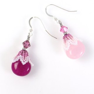 Rose pink teardrop earrings, cute jewelry, Swarovski crystal, gift, 400