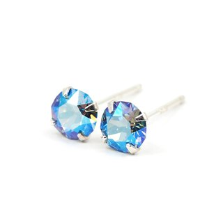 Sapphire Blue Shimmery Swarovski Crystal Earrings, Sterling Silver, 5mm Round