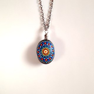 [None] Handmade Mandala Stone Pendant • Necklace