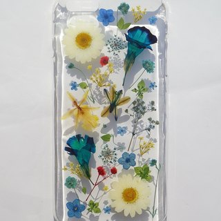 Pressed flower phone case, Handmade phone case, iphone 6 plus and 6S plus, Blue Color