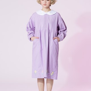 : EMPHASIZE chest pressure pleated hem oval flower embroidery dress - pink and purple