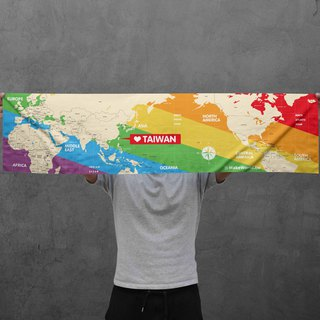 Make World map manufacturing sports towel (Rainbow oblique version)