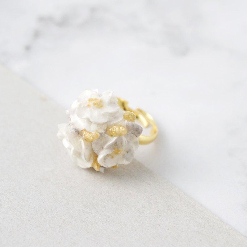 大理石紋花球戒指 金色款 手工黏土裱花 可客製