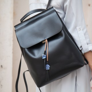 Two-ways Backpack/ Backpack / Leather / Black / shoulder bag / Handmade