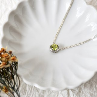 Handmade Simple Peridot Pendant Necklace, Ready to Ship, Birth stone of August