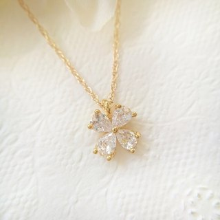 14kgf, Zirconia Clover & Herkimer Diamond Necklace