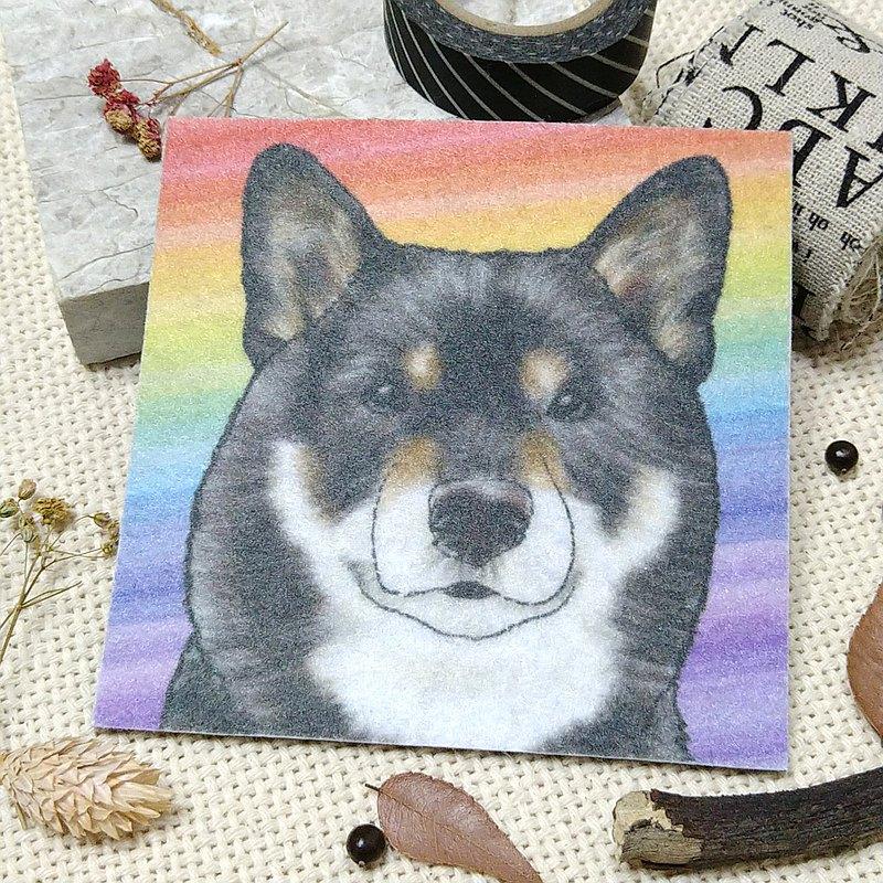 黑柴犬-不織布杯墊-吸水杯墊~彩虹暈染