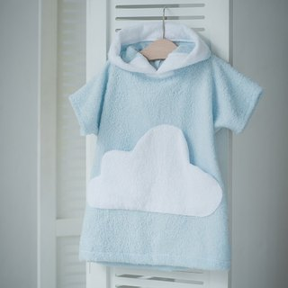 Blue bath robe with white cloud pocket for kids