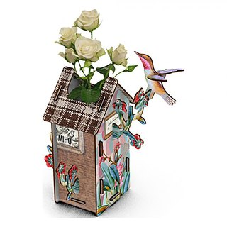 Italy MIHO Germany made high-quality table wooden bird house style flower (Vase-130) spot