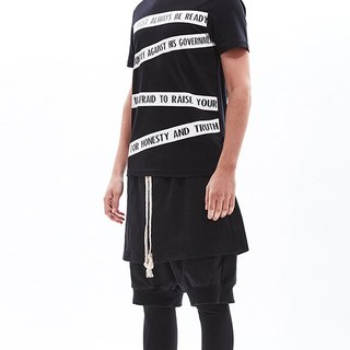 """QUOTES"" print black cotton tee"
