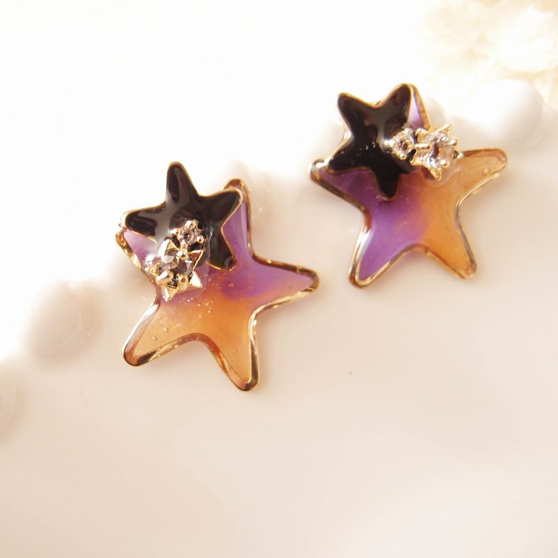 Halloween flashes with stars - no pain U-shaped ear clip stainless steel ear pin silicone ear
