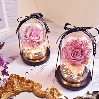 WANYI Yongsheng glass lampshade rose bouquet without withered flowers, dry flowers, Christmas proposal