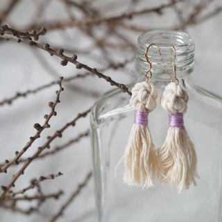 Elegant Macrame Ball Earrings With Tassels  (purple)