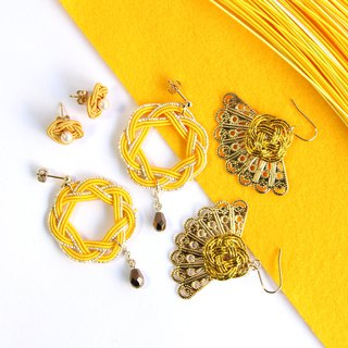 Goody Bag / yellow / japanese style pierce earring / mizuhiki / japan