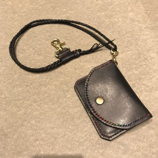 Handmade hand-dyed leather purse with long chain