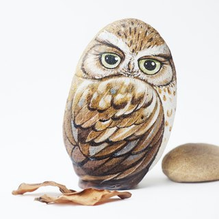 Owl stone painting,original art.