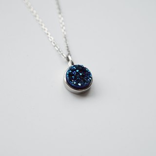 Rainbow Blue Druzy Crystal Necklace - 925 Sterling Silver