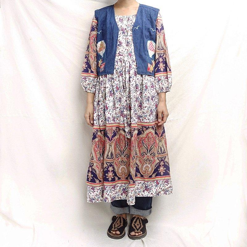 BajuTua /古著/ 70's 加拿大製 宮廷風曼陀羅洋裝