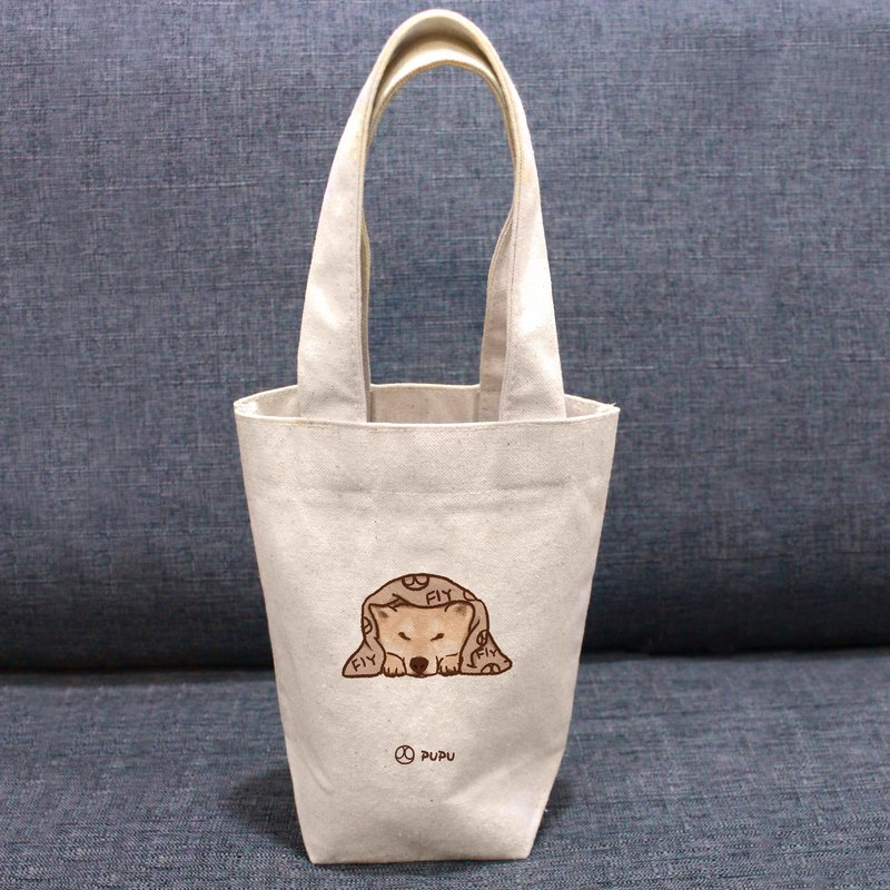 Shiba Inu - 趴---Taiwan-made cotton burlap - Wenchuang Shiba Inu - bag - green cup bag - fly planet