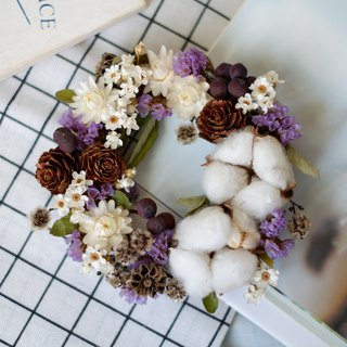 To be continued | Autumn berry dry flower fruit cotton wreath white purple spot