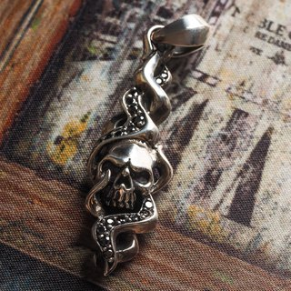Carved flame 骷髅 necklace pendant 925 sterling silver single price