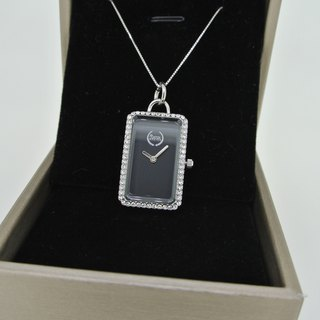Elegant silver necklace watch - black dial with diamond