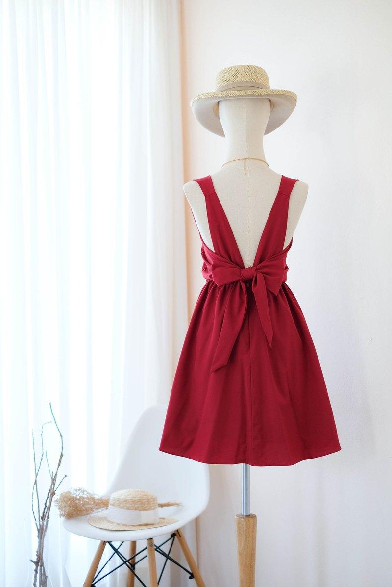 深紅色禮服伴娘禮服露背派對雞尾酒短裙