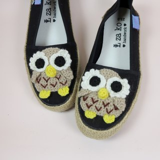 Black cotton canvas hand-made shoes forest owl models have weaving paragraph