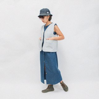 BOLIVÁR Denim Work Vest - Blue/White Stripes