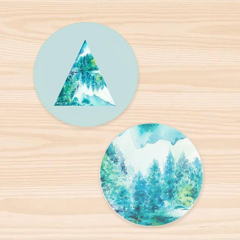 【班鳩】兩入吸水陶瓷杯墊組-Geometric Scenery 002-森林湖景