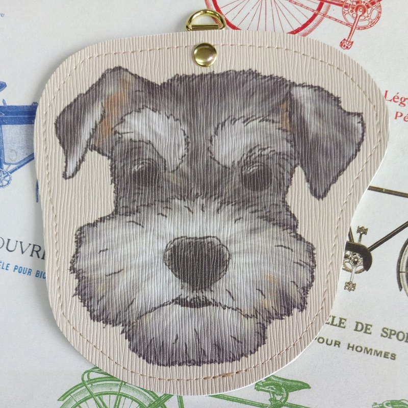 Schnauzer - imitation leather card set (gift neck rope) - dog sketch series ~ dog head shape