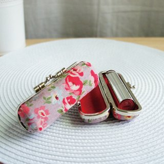 Lovely [Japanese cloth] pink purple rose flower seal lipstick gold bag, coin purse, sweet