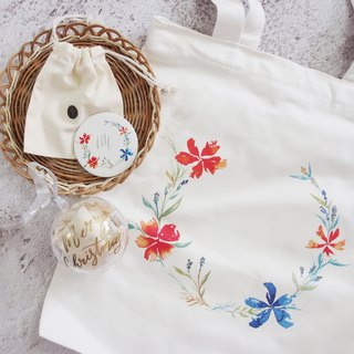 Goody Bag - Mstandforc Wreath Bag x Hot Gold Small Round Mirror x Christmas Charm x Manual Card