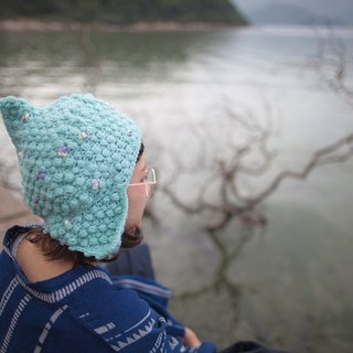lighthouse_tiffany blue crochet trapper hat. limited edition