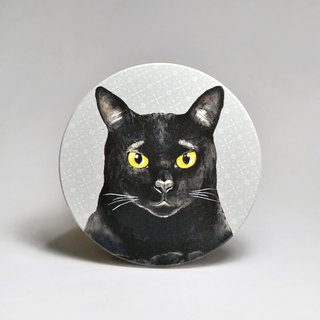 Water-absorbing ceramic coaster - sheep's head of the soup black cat (send stickers) (can be purchased custom text)