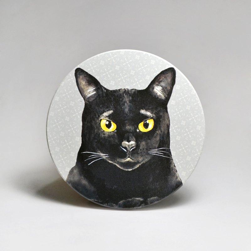 吸水陶瓷杯墊-黑貓 (送貼紙)(可加購客製文字)