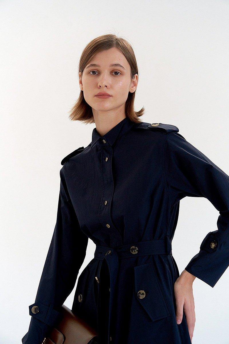 燕子領風衣洋裝/ 深藍