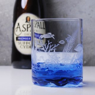 220cc [Sea Turtle's Travel ~ Underwater World] Seahorse Paradise Deep Sea Blue Italian Whiskey Cup