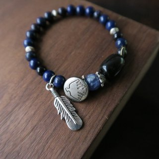 Blueprint [Spiritual • Small Hand-made] Lapis Lazuli Black Agate Blue Sand Stone Blue Stone Feathers Eagle Tibetan Silver Unisex Unicycle Bracelets