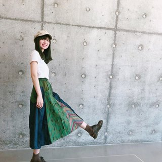 Summer bamboo denim patchwork skirt