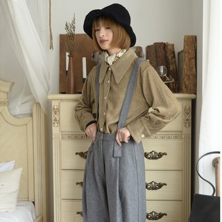Two-tone high-rise bib - medium gray | pants | autumn and winter models | wool blend | independent brand | Sora-210