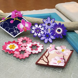 flower's embroidery drink coasters
