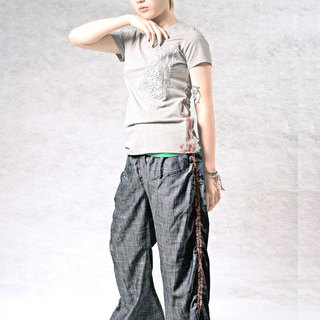 Side pressure jump color lotus leaf wide wide pants